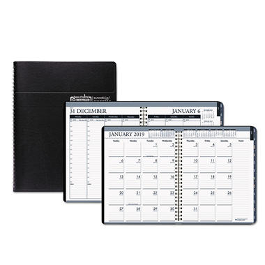 House of Doolittle™ Recycled Wirebound Weekly/Monthly Planner, 8 1/2 x 11, Black Leatherette, 2018