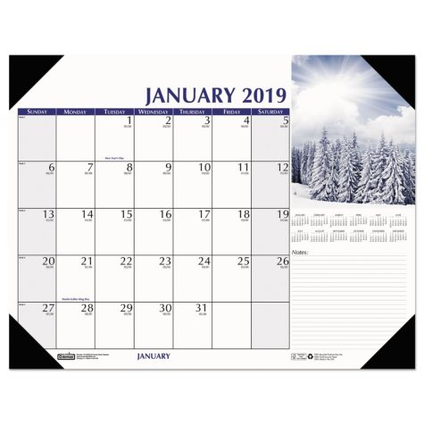 "House of Doolittle Earthscapes Scenic Desk Pad Calendar, 22"" x 17"", 2019"
