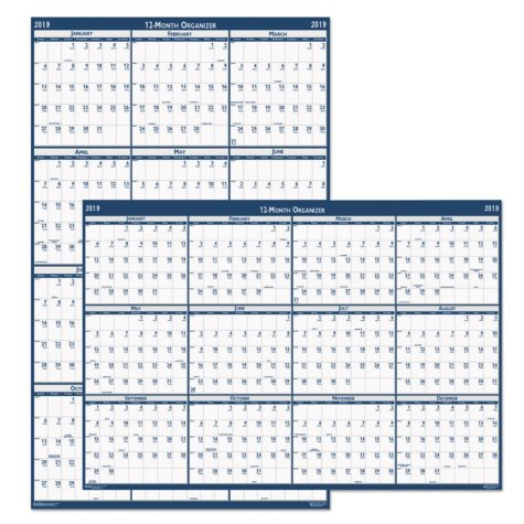 House of Doolittle™ Recycled Poster Style Reversible Academic Yearly Calendar, 24 x 37, 2018-2019