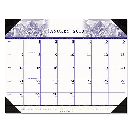 "House of Doolittle Recycled One-Color Photo Monthly Desk Pad Calendar, 22"" x 17"", 2018"