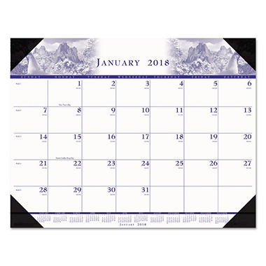 House of Doolittle Recycled One-Color Photo Monthly Desk Pad Calendar, 22