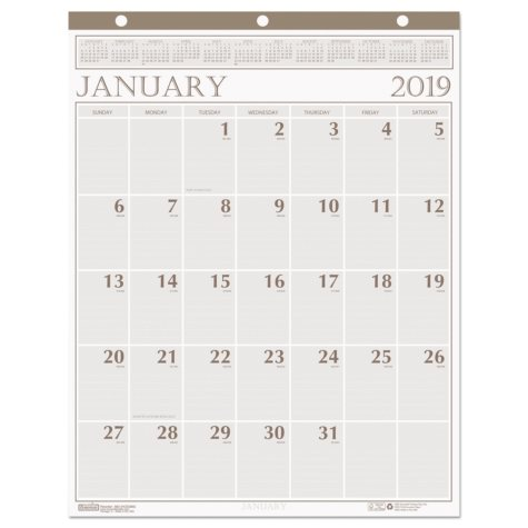 House of Doolittle™ Recycled Large Print Monthly Wall Calendar, Leatherette Binding, 20 x 26, 2019