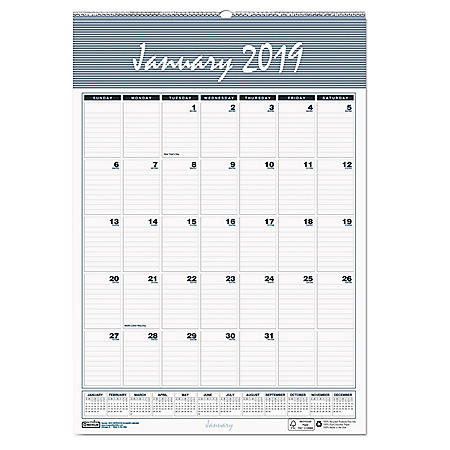 House of Doolittle™ Recycled Bar Harbor Wirebound Monthly Wall Calendar, 12 x 17, 2019