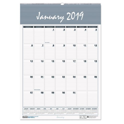 House of Doolittle™ Recycled Bar Harbor Wirebound Monthly Wall Calendar, 22 x 31 1/4, 2019