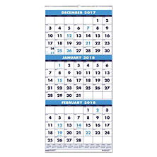 House of Doolittle™ Recycled Three-Month Format Wall Calendar, 12 1/4 x 26, 14-Month, 2017-2019