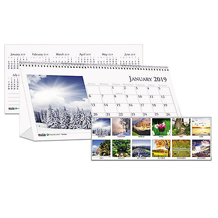 House of Doolittle™ Recycled Scenic Photos Desk Tent Monthly Calendar, 8 1/2 x 4 1/2, 2019