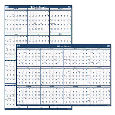 House of Doolittle™ Recycled Poster Style Reversible/Erasable Yearly Wall Calendar, 24 x 37, 2018