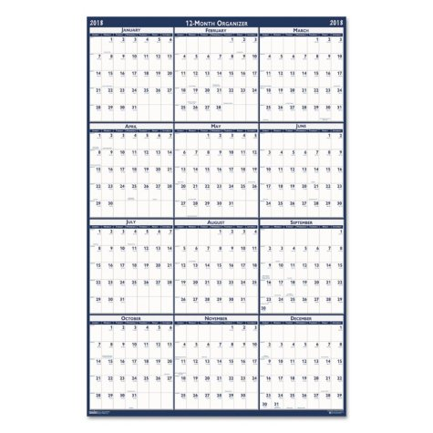 "House of Doolittle Recycled Laminated Write-On/Wipe-Off Jumbo Yearly Wall Calendar, 66"" x 33"", 2018"