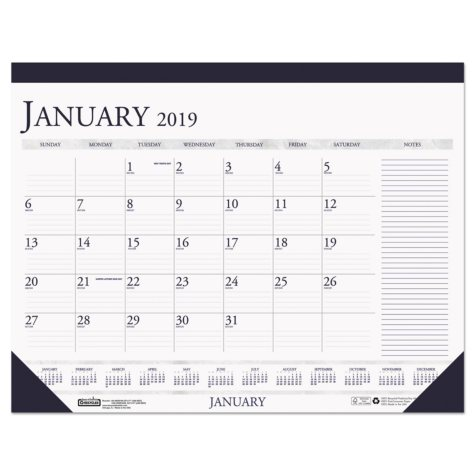 House of Doolittle™ Recycled Two-Color Monthly Desk Pad Calendar w/Large Notes Section, 22x17, 2018