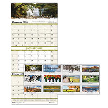 House of Doolittle™ Recycled Scenic Compact Three-Month Wall Calendar, 8 x 17, 2017-2019