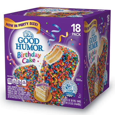 Good Humor Birthday Cake Ice Cream Bars 495 Oz 18 Ct
