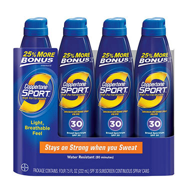 Coppertone Sport Broad Spectrum SPF30 Continuous Spray Sunscreen (7.5 fl. oz., 4 ct.)