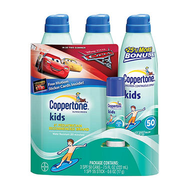 Coppertone Kid's Sunscreen Multi-pack (7.5 fl. oz., 3 pk. + .6 oz. Kid's Stick)