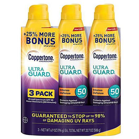 Coppertone Ultraguard Sunscreen Continuous Spray SPF 50 (6.9 oz 3pk)