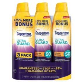 Coppertone Ultra Guard Sunscreen Continuous Spray, SPF 50 (6.9 oz., 3 pk.)