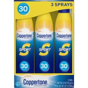 Coppertone Sport Continuous Spray Sunscreen Spf 30 6 9 Oz 3 Pk