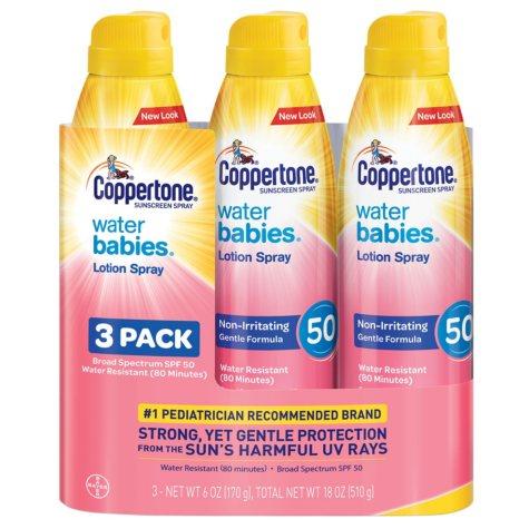 Coppertone Water Babies Sunscreen Lotion Spray, SPF 50 (6 oz., 3 pk.)