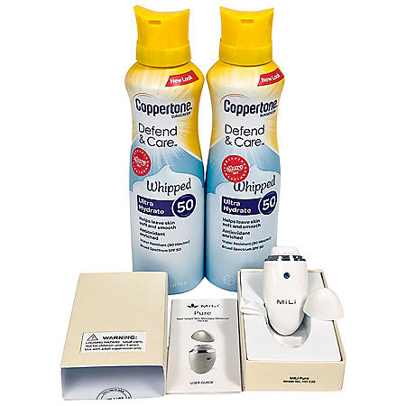 Coppertone Defend & Care Sunscreen Whipped Lotion SPF 50 Twin Pack (5 oz. ea. ) + MiLi Skin Moisture Detector