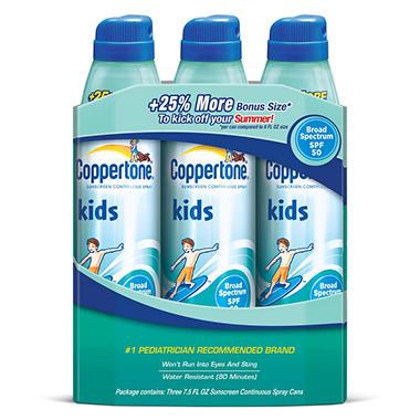 18831c2d0a94c Coppertone Kids® Continuous Spray® SPF 50 Sunscreen - 7.5 fl. oz. - 3 ct. -  Sam s Club