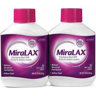 Miralax Laxative 30 Ct 2 Pk Sam S Club