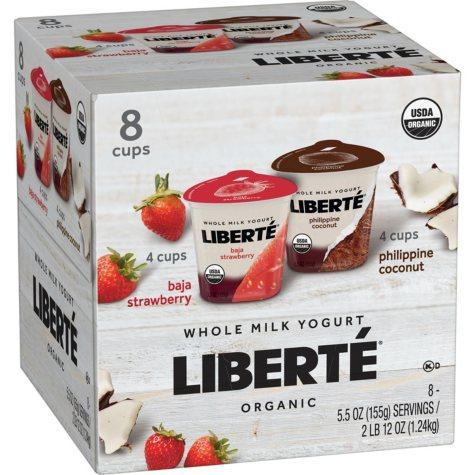 Liberté Whole Milk Yogurt, Strawberry and Coconut (8 pk.)