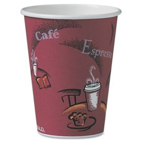 SOLO Cup Company Bistro Design Hot Drink Cups, Paper, 12oz, 300/Carton