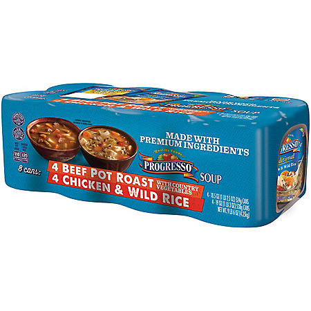 Progresso Beef Pot Roast/Chicken & Wild Rice Soup Variety Pack (150 oz., 8 ct.)