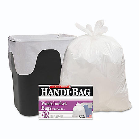Handi-Bag Super Value Pack, 8gal, .55mil, 21 1/2 x 24, White -  130/Box - Trash Bags