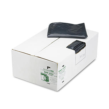 Earthsense Commercial - Recycled Can Liners, 55-60gal, 1.65mil, 38 x 58, Black -  100/Carton