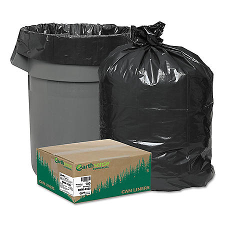 Earthsense Commercial Recycled Trash Bags, 56 gal, 2mil, 43 x 47, Black (100 per carton)