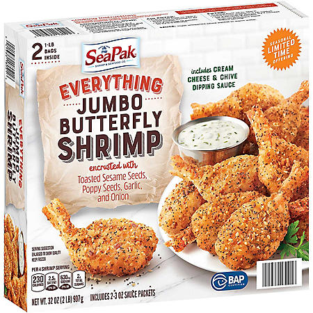 SeaPak Everything Encrusted Jumbo Butterfly Shrimp With Dipping Sauce, Frozen (32 oz.)