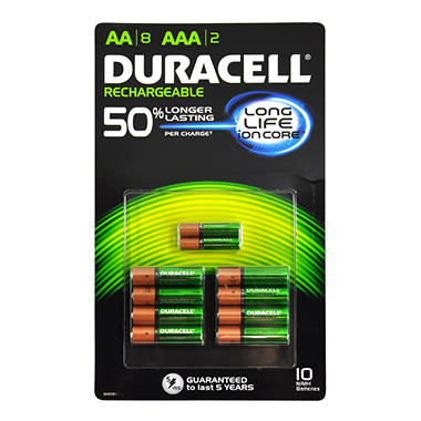 Duracell Rechargeable Batteries Assortment Pack AA 8 Count