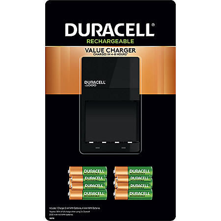 Duracell - Ion Speed 1000 Battery Charger with 6 AA and 4 AAA Rechargeable Batteries