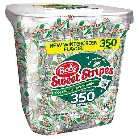 Bobs Sweet Stripes Soft Wintergreen Candy (61.73 oz., 350 ct.)