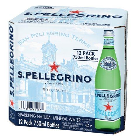 San Pellegrino Sparkling Natural Mineral Water (750 ml bottles, 12 pk.)