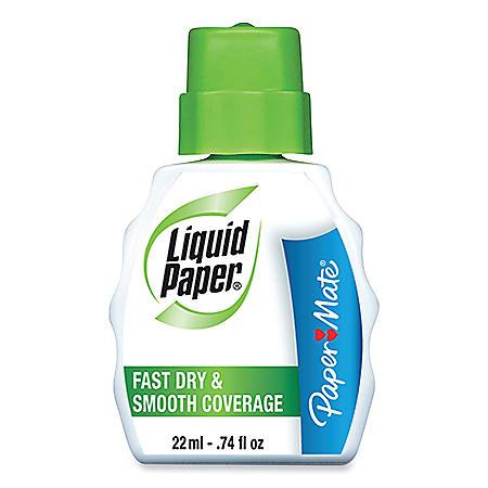 Paper Mate Liquid Paper - Fast Dry Correction Fluid, 22 ml Bottle, White - 12 Pack