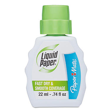 Paper Mate Liquid Paper - Fast Dry Correction Fluid, 22 ml Bottle, White - 12 Pack