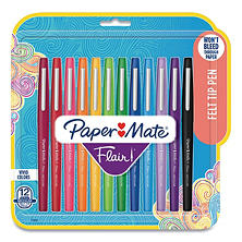 Paper Mate Flair Porous Point Stick Pen, Assorted Colors (Medium, 12 ct.)