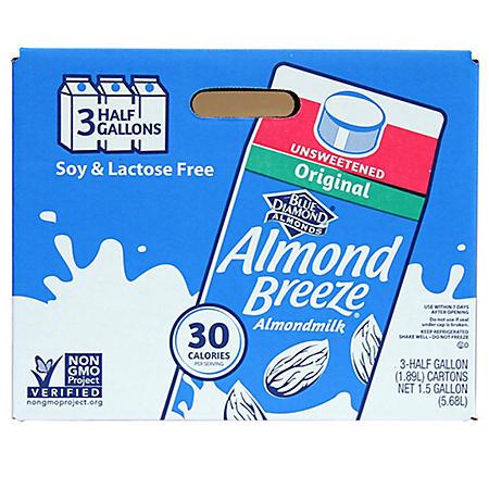 Almond Breeze Almond Milk, Original Unsweetened (64 oz., 3 pk.)