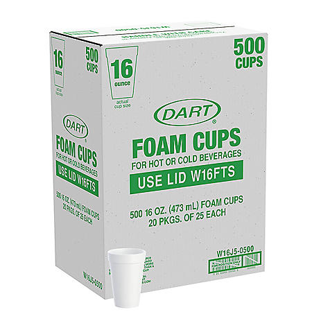 Member's Mark by Dart® Foam Cups - 500/16 oz. Hot and Cold