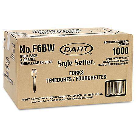 Dart Style Setter Medium weight Plastic Forks, White -  1000/Carton