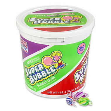 Super Bubble® 3 Flavor Gum - 4 lb. 8 oz. bucket