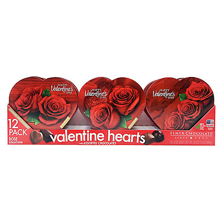 Valentine's Day 12-Pack Rose Assorted Chocolate Hearts