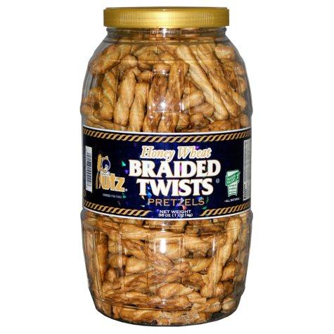 Utz Honey Wheat Braided Pretzels Barrel (56 oz.)
