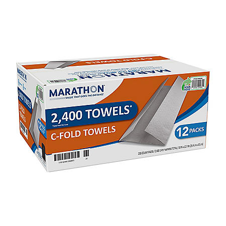 Marathon® C-Fold Paper Towels, White, 200 Towels Per Pack, 12 Packs Per Case