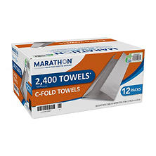 GP Marathon C-Fold Paper Towels, White (2,400 Towels)