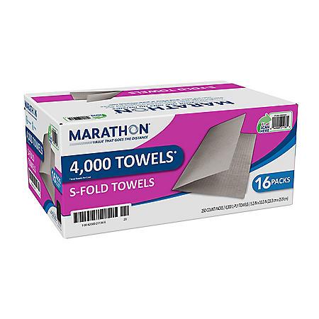 Marathon® Singlefold Paper Towels, Brown, 16 Packs/Case