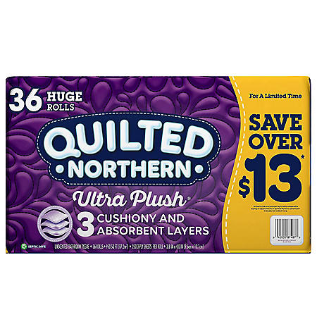 Quilted Northern Ultra Plush Toilet Paper (3-Ply, 36 Huge Rolls, 250 Sheets/Roll)