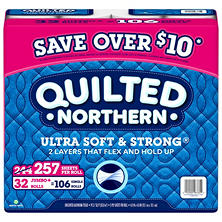 Quilted Northern Ultra Soft & Strong Bathroom Tissue, 2-Ply, (32 jumbo rolls, 257 sheets)
