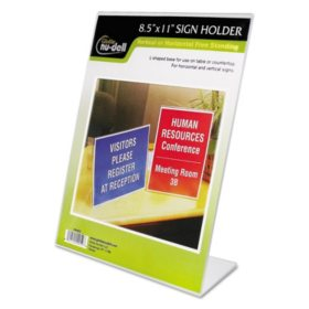 Nu-Dell Clear Plastic Sign Holder, Stand-Up, Slanted -  8 1/2 x 11